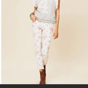 Free people white floral skinny jeans